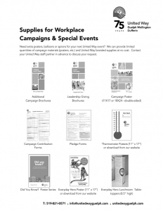 supplies for workplace campaigns and special events