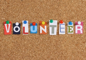 volunteer on cork board